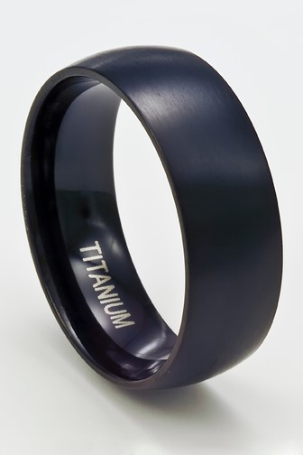 men's domed band ring of oxidized titanium