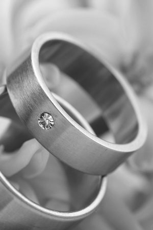 titanium rings on flowers