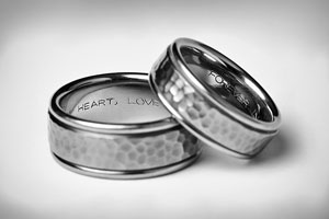 two titanium wedding bands